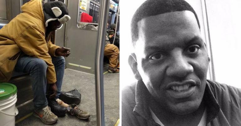 Esse homem doou as botas que usava para sem teto que passava frio no metrô 1