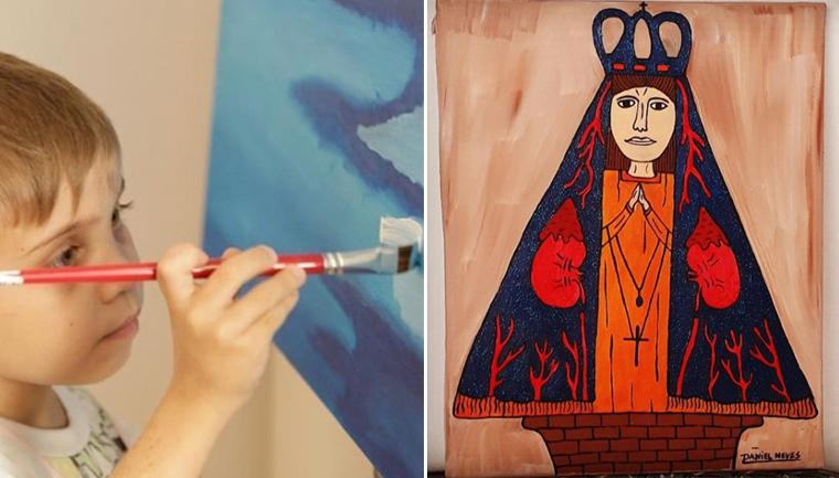 Menino com doença hepática se apoia na fé e na arte enquanto aguarda transplante 5