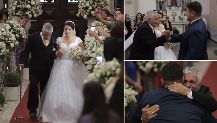 Pai supera sequelas de AVC e leva filha até o altar 1