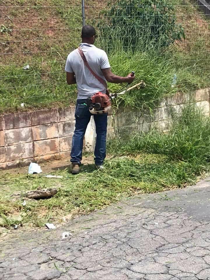 Cansados de esperar, moradores de Cotia fazem mutirão de limpeza em calçada de escola 5