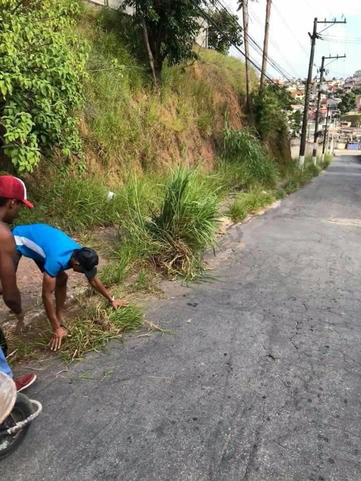 Cansados de esperar, moradores de Cotia fazem mutirão de limpeza em calçada de escola 2