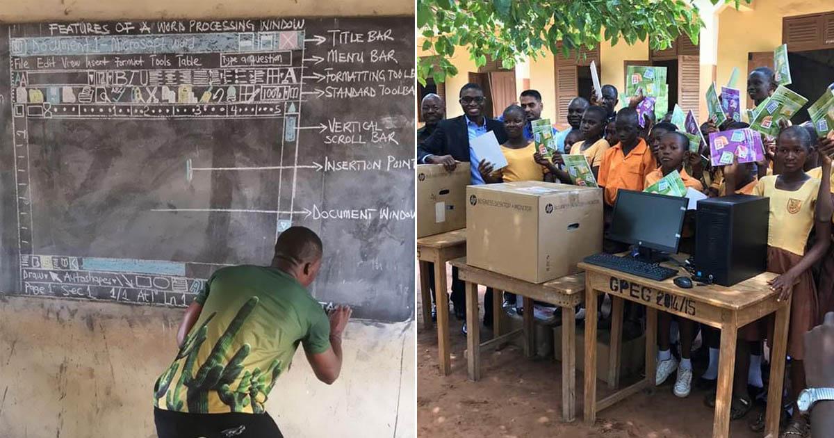 Em Gana, professor que ensina alunos a usarem o Word com desenhos na lousa viraliza e recebe doações do mundo todo 1