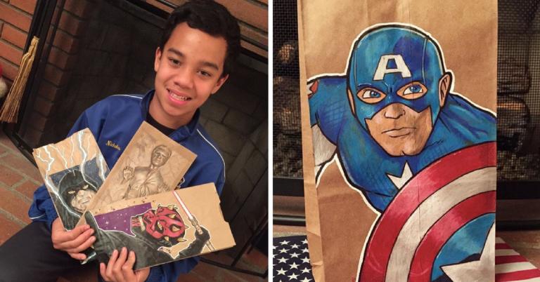 Artista transforma embalagens de lanche escolar do filho em verdadeiras obras de arte 1