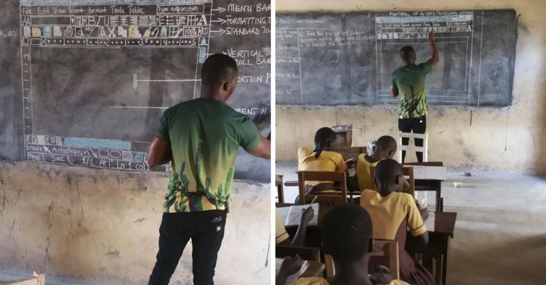 professor gana ensina word na lousa