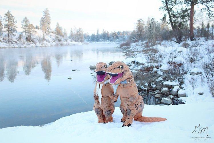 Casal se fantasia de dinossauros para mostrar que o amor não está em extinção 11