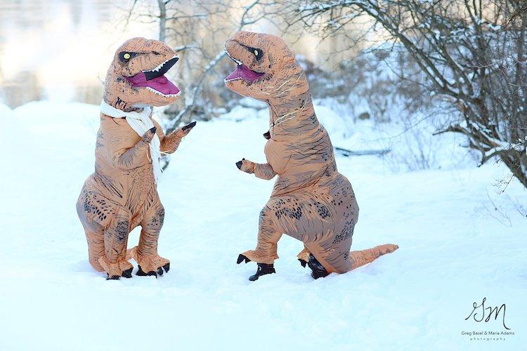 Casal se fantasia de dinossauros para mostrar que o amor não está em extinção 5