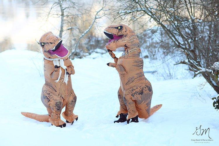 Casal se fantasia de dinossauros para mostrar que o amor não está em extinção 6