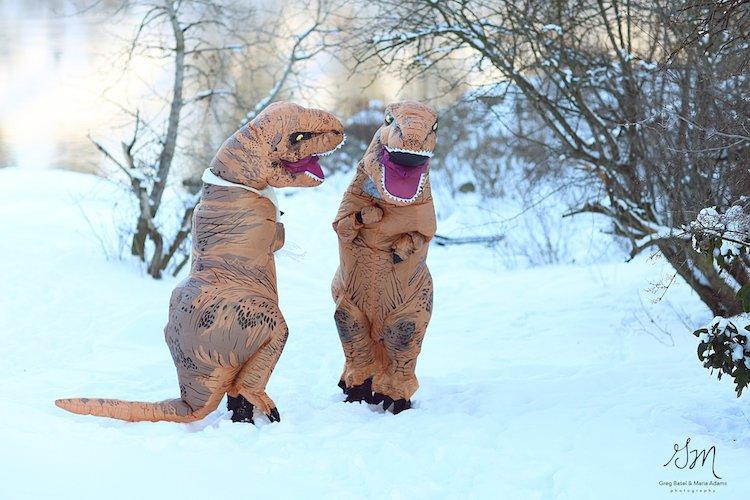 Casal se fantasia de dinossauros para mostrar que o amor não está em extinção 8