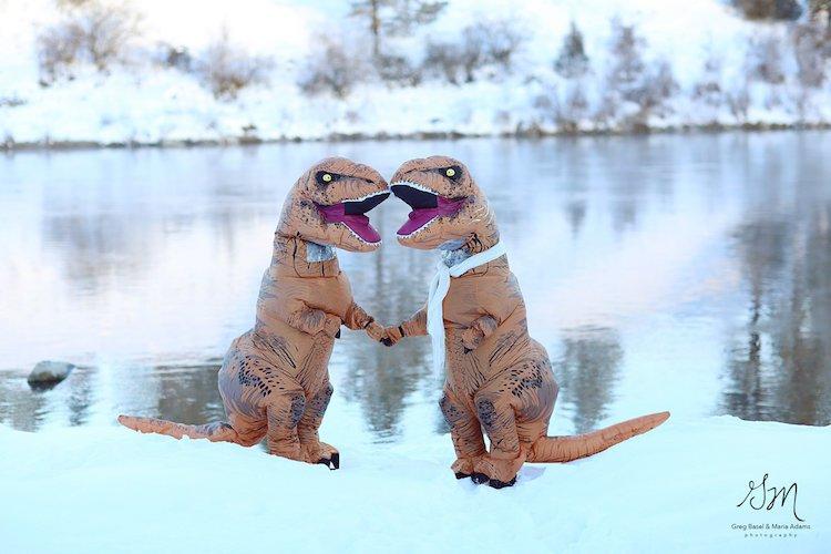Casal se fantasia de dinossauros para mostrar que o amor não está em extinção 9