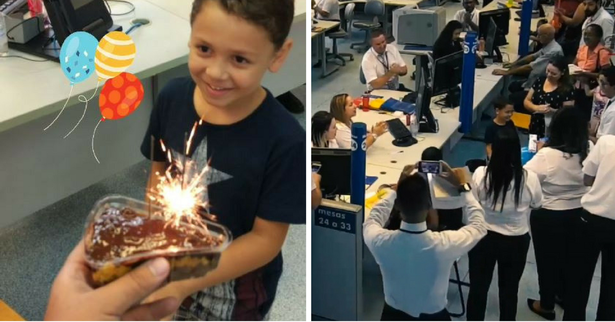Em SP, funcionários do Poupatempo surpreendem garoto com bolo e parabéns 3