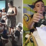 Crianças Feliz Páscoa colega deficiente Vinícius