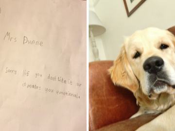 Garotinho escreve cartinha cheia de amor para professora que perdeu seu cachorro 2