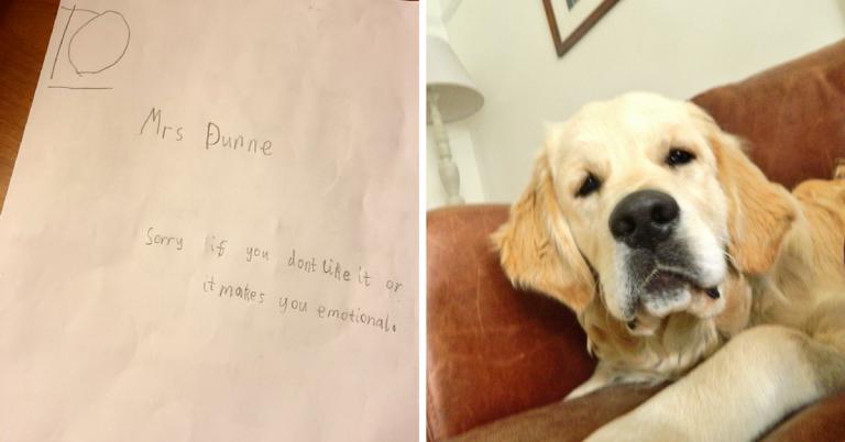 Garotinho escreve cartinha cheia de amor para professora que perdeu seu cachorro 1