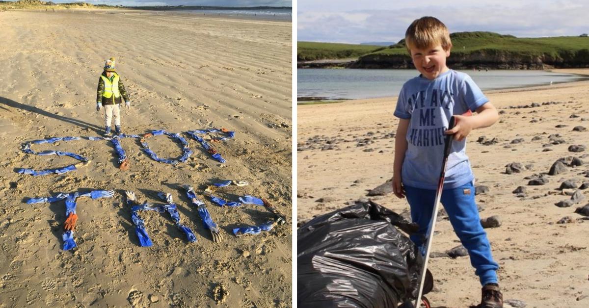 Na Irlanda, garoto de 5 anos passa os finais de semana limpando o lixo da praia 1