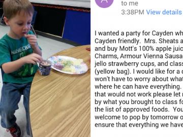 Professora organiza festa e compra só alimentos que aluno com alergias alimentares pode comer 2
