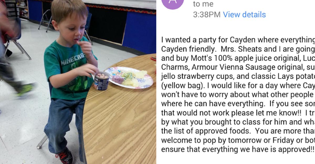 Professora organiza festa e compra só alimentos que aluno com alergias alimentares pode comer 3