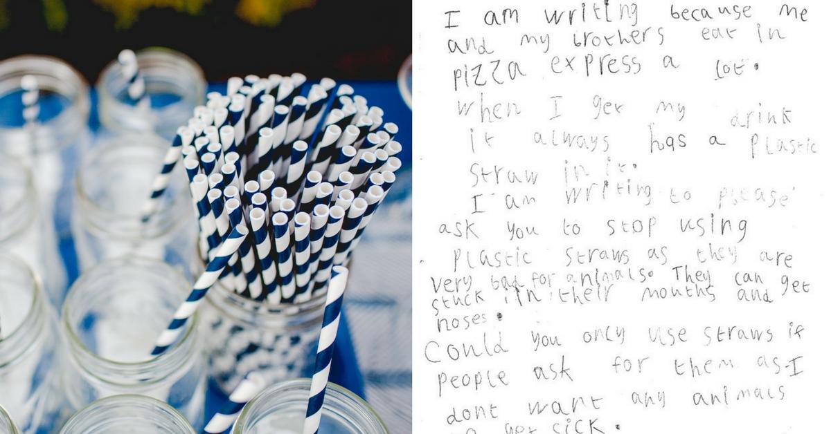 Pizzaria atende pedido de garotinha de 5 anos para deixar de usar canudos plásticos 2