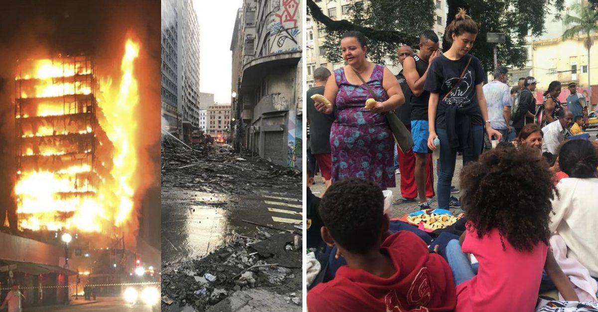 Vizinhos ajudam moradores do prédio que desabou após um incêndio em São Paulo