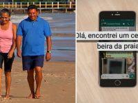 casal encontra celular perdido praia