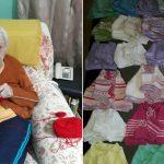 idosa casaquinhos meias lã