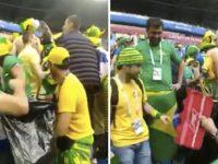 Brasileiros juntam o lixo em estádio após vitória da seleção
