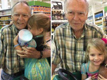idoso menina abraçados supermercado