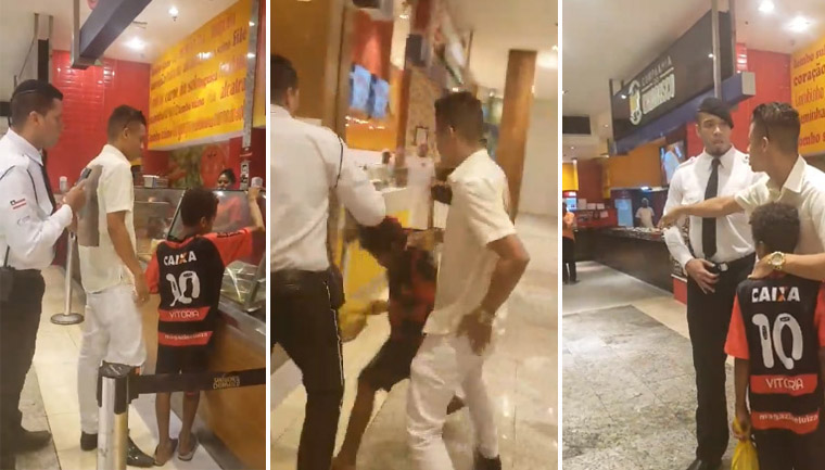 segurança tenta impedir cliente almoço menino