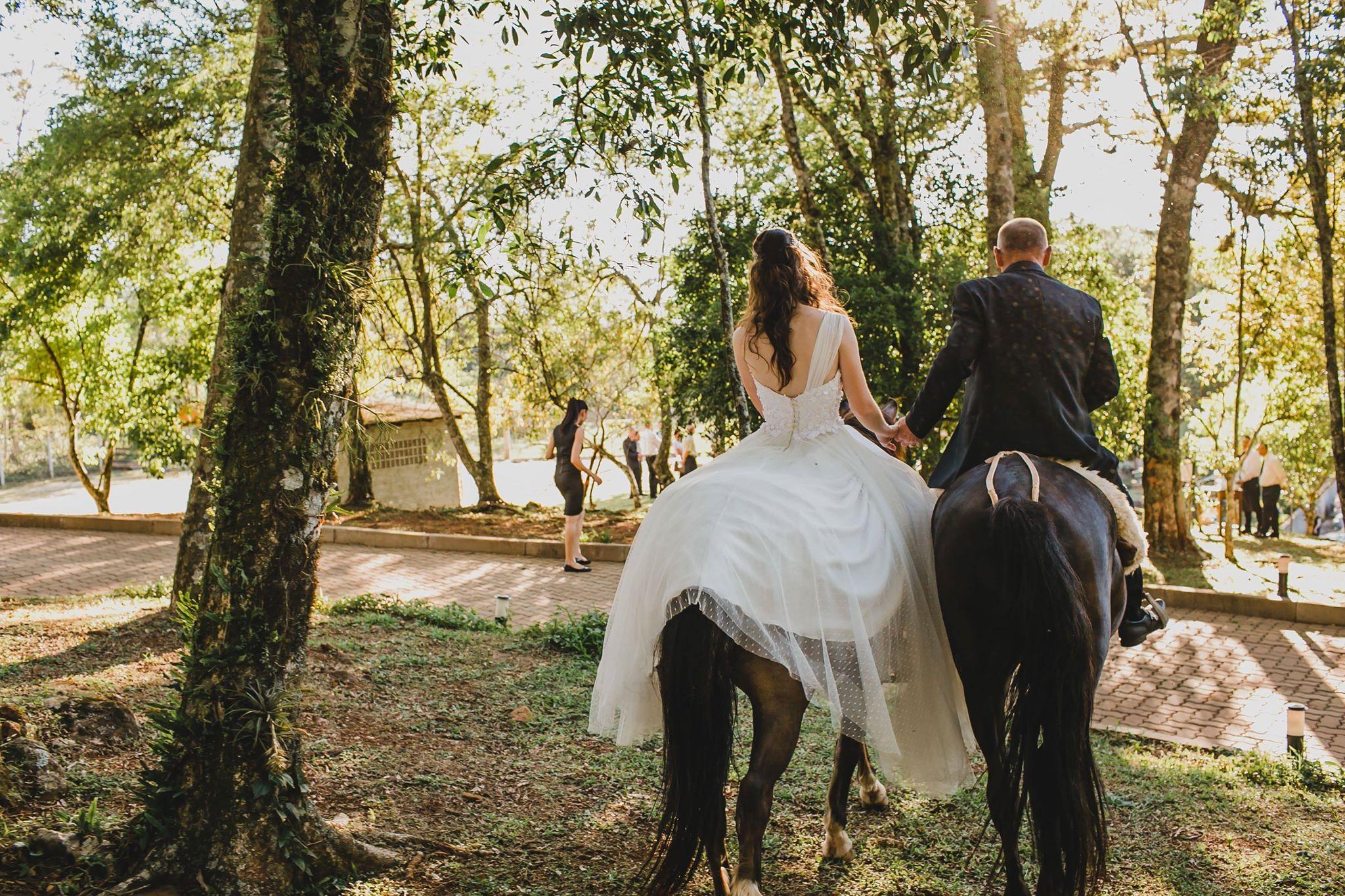 Casal remarca o casamento por causa da amizade com seus dois cavalos 5