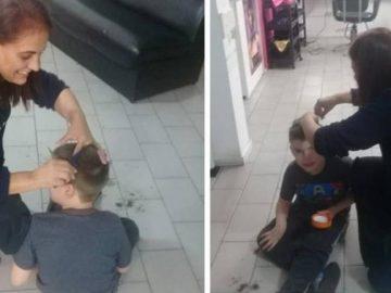 cabeleireira corta cabelo menino chão salão