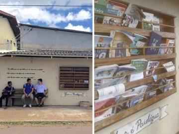 Professor faz biblioteca em parada de ônibus no Amapá