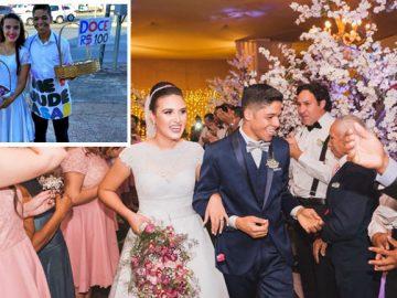noivos vendiam doces semáforo ganham casamento