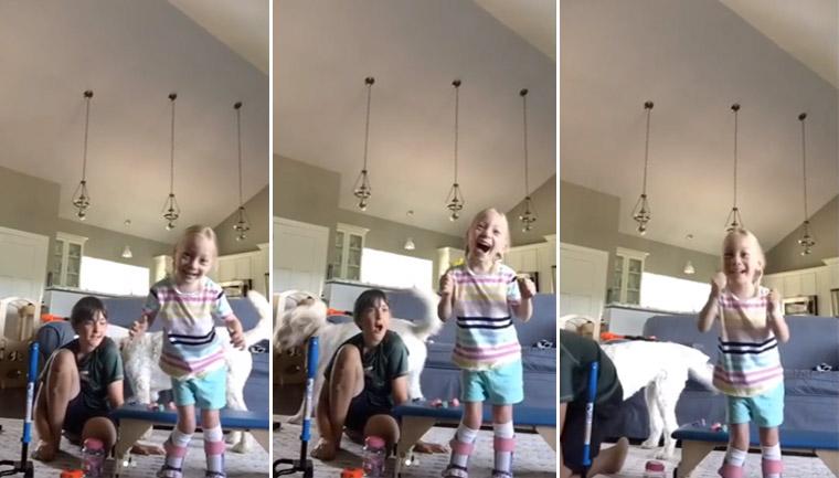 menina paralisia cerebral começa andar