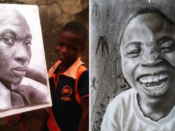 menino nigeriano desenhos hiper-realistas