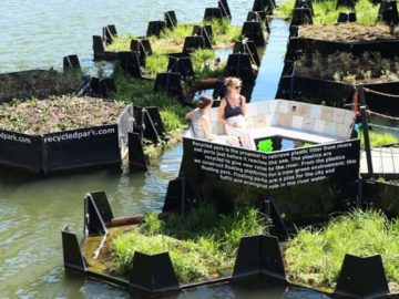 holanda parque flutuante feito plástico