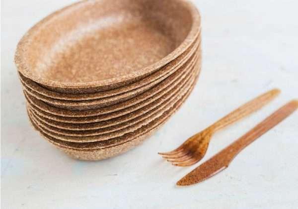 pratos talheres feitos farelo de trigo
