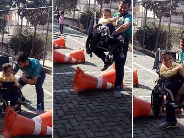 professor educação física adapta aulas criança cadeirante