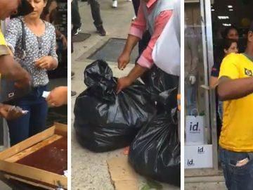 população paga mercadoria vendedor frutas apreendidas