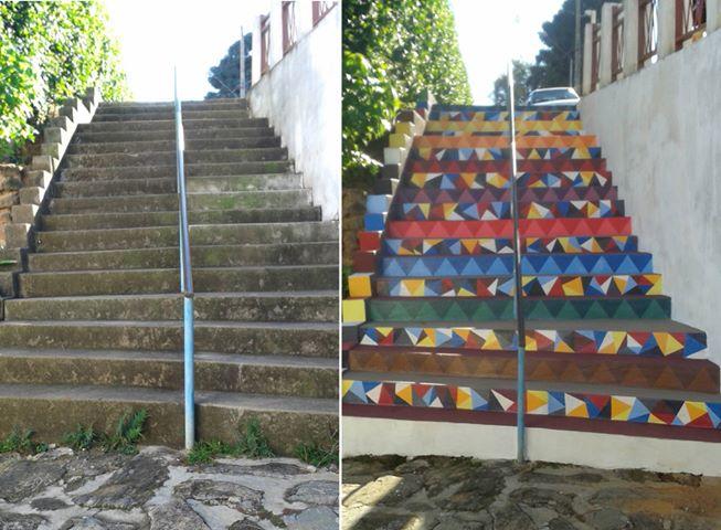 voluntários colorem espaços públicos degradados