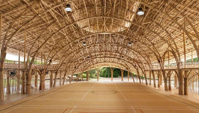 centro esportes feito bambu escola tailândia