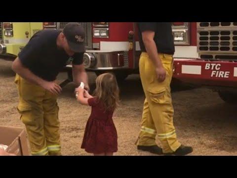 Menina leva café da manhã para bombeiros no incêndio da Califórnia 3