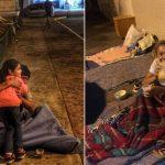 menina distribui pães abraços moradores de rua
