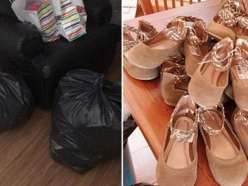 mulher comprar sandálias crianças africanas