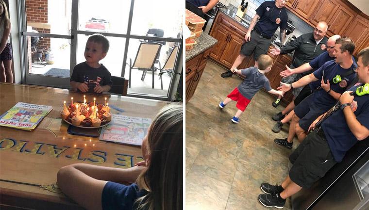 Bombeiros salvam festa aniversário menino 3 anos