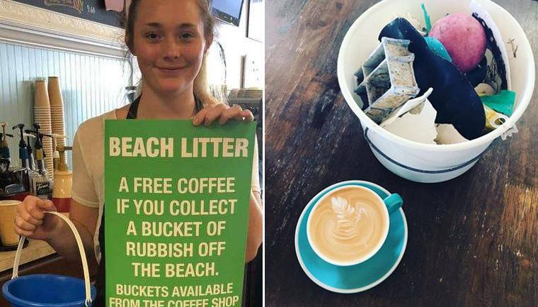 australianos trocam lixo retirado praia café sorvete