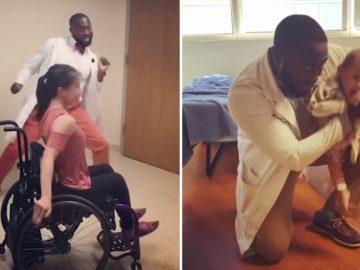 Pediatra anima crianças tratamento dançando jeito engraçado