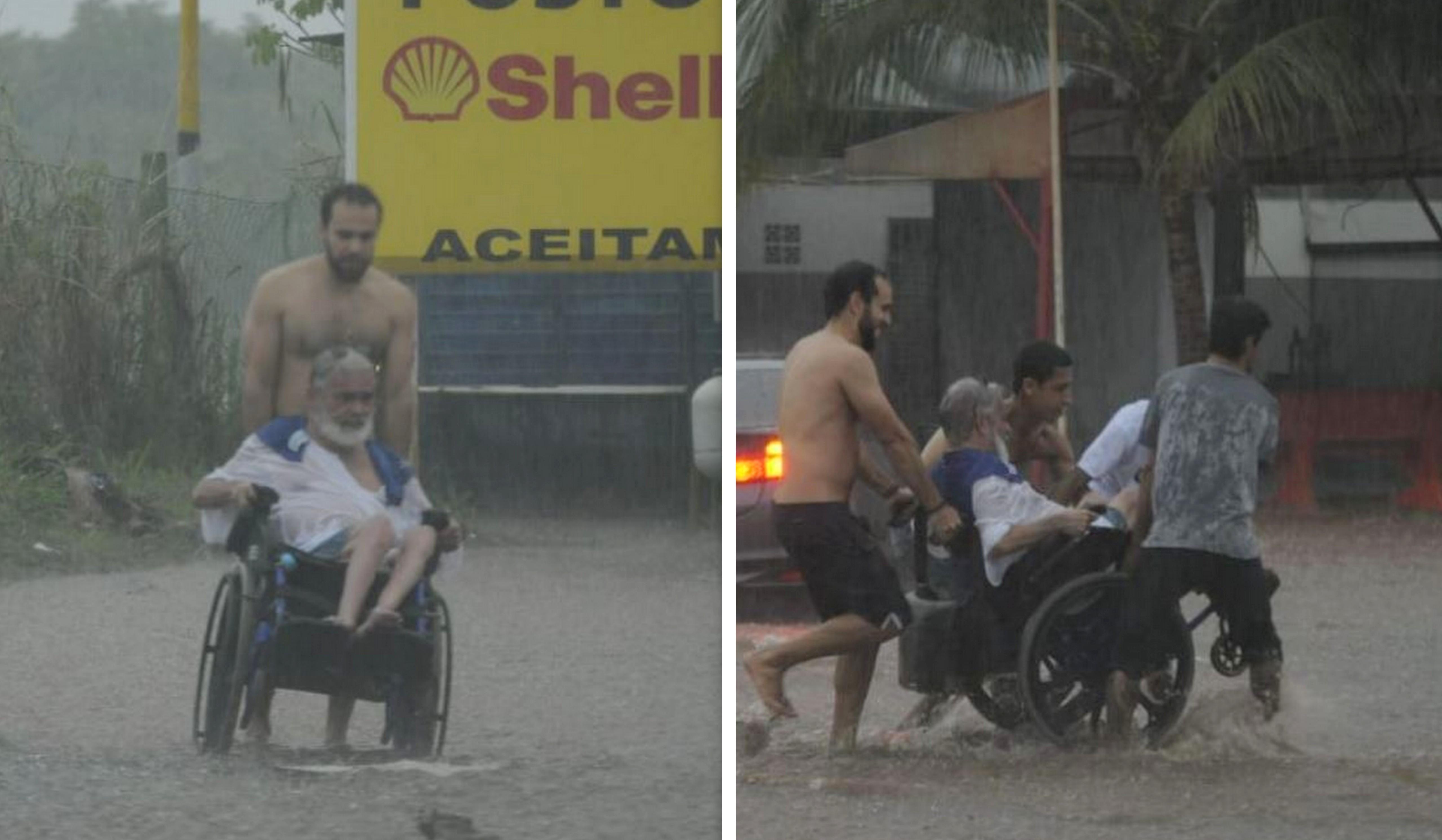 Em meio a chuva, jovens ajudam cadeirante a atravessar a rua 3
