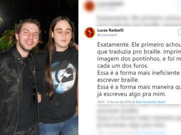 noivo faz convite casamento braille amigo deficiente visual