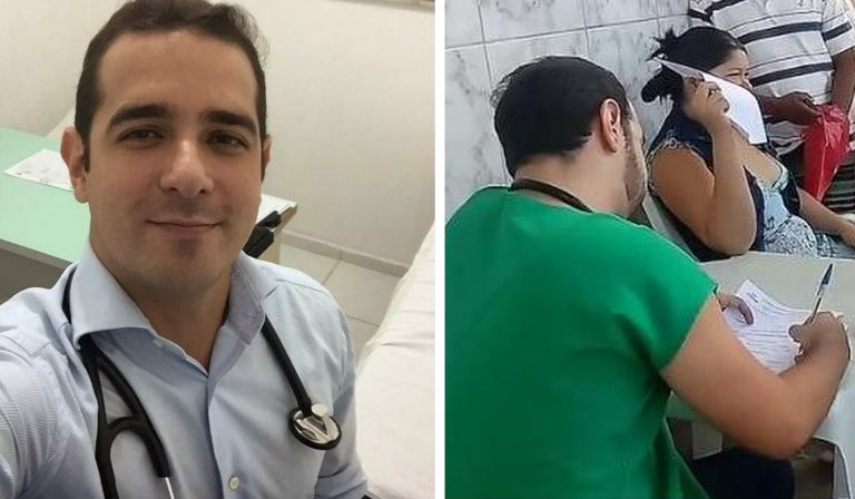 Após demissão sem aviso prévio, médico atende pacientes na calçada 1