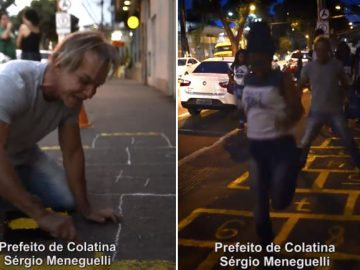 prefeito colatina pinta amarelinha pula estudantes