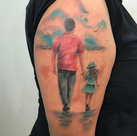 filha tatua foto pai google maps após morte